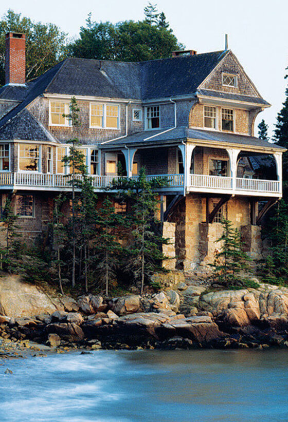 Turn up the rustic charm at a Maine cottage.